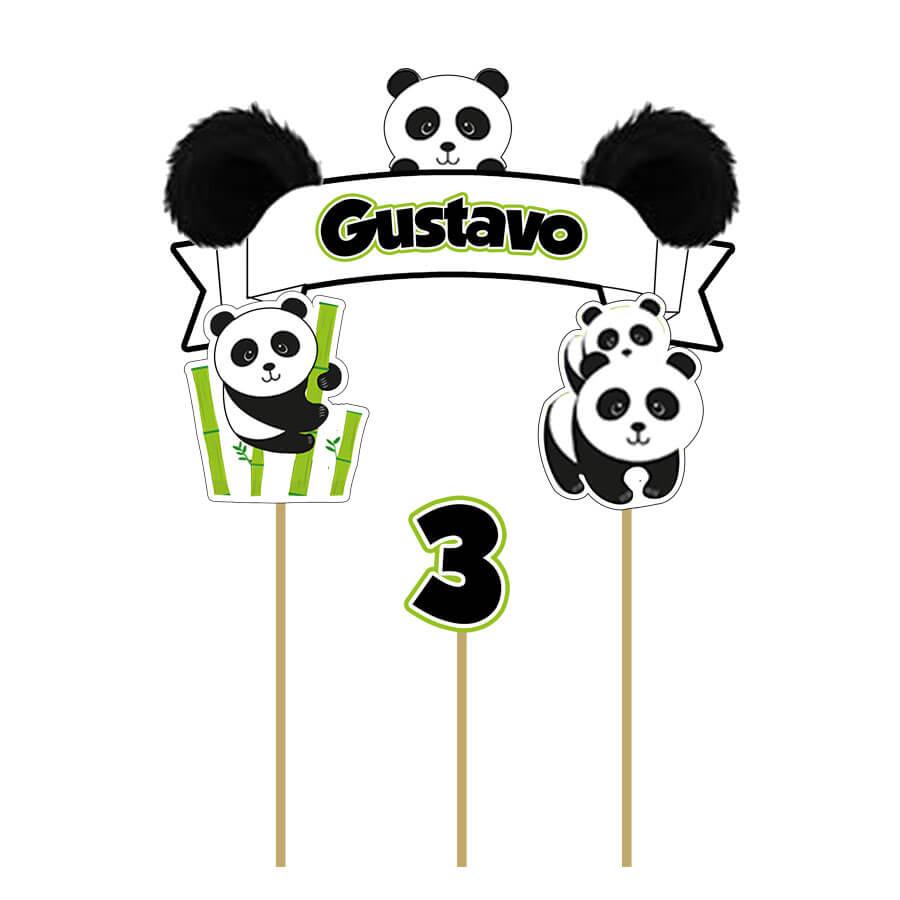 Topo de Bolo Panda com Nome e Idade