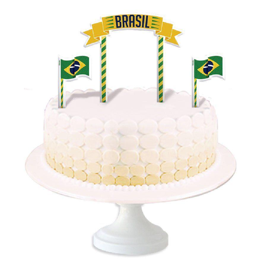 Topper para Bolo Brasil na Copa do Mundo 2018 - Aluá Festas a4da25cac08cc