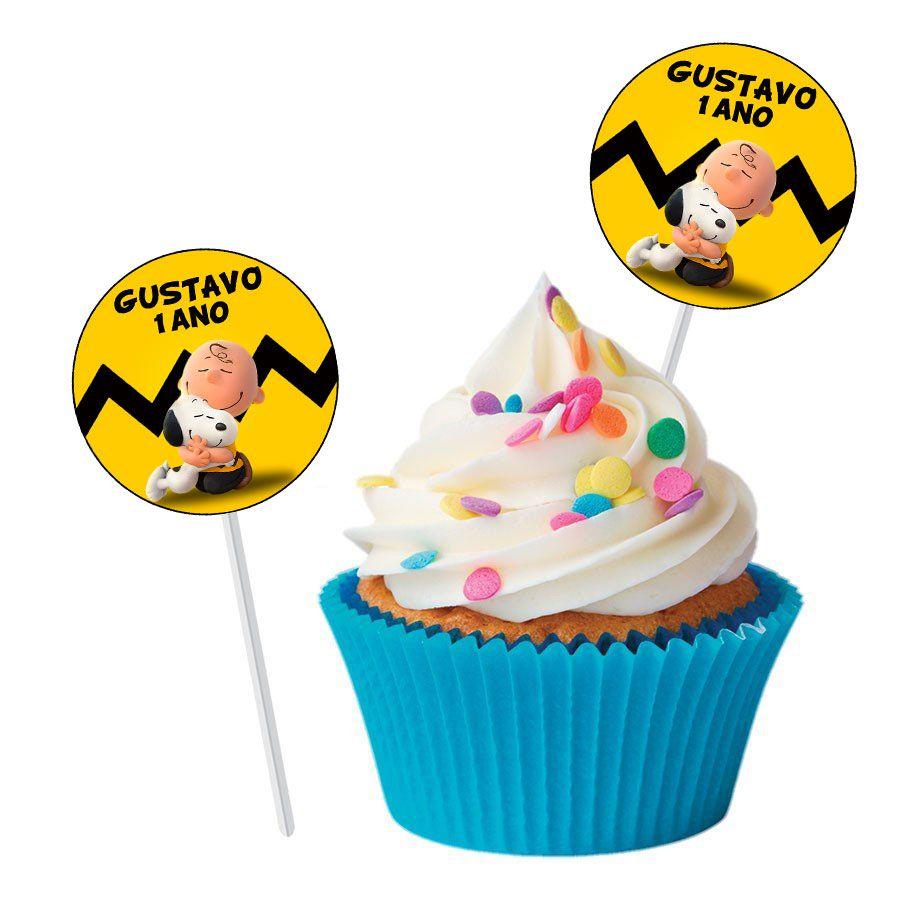 Topper Redondo para Doces Personalizado Snoopy - 15 Unidades