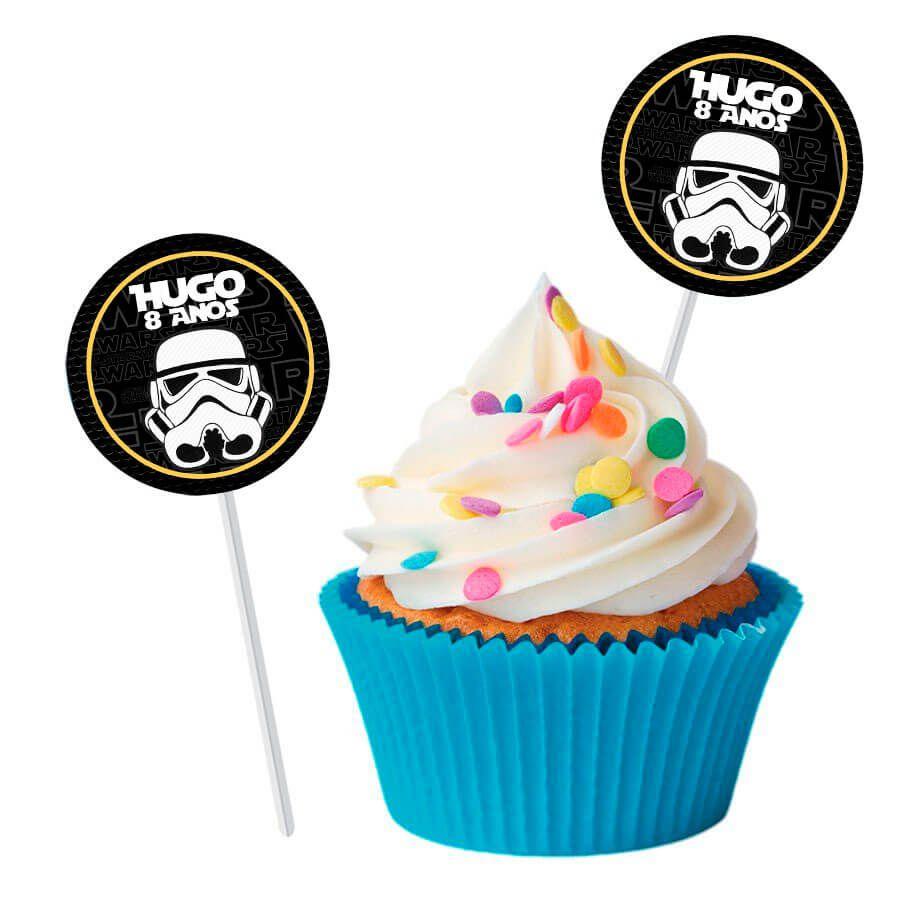 Topper Redondo para Doces Personalizado 15un Star Wars