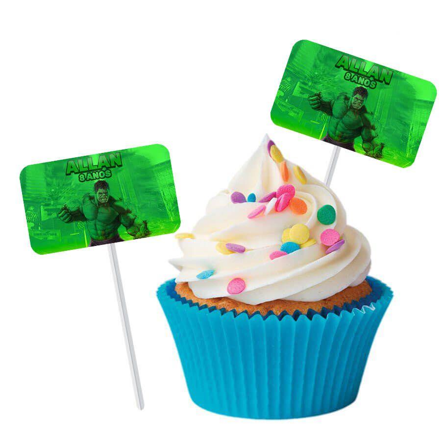 Topper Retangular para Doces Personalizado 15un Hulk