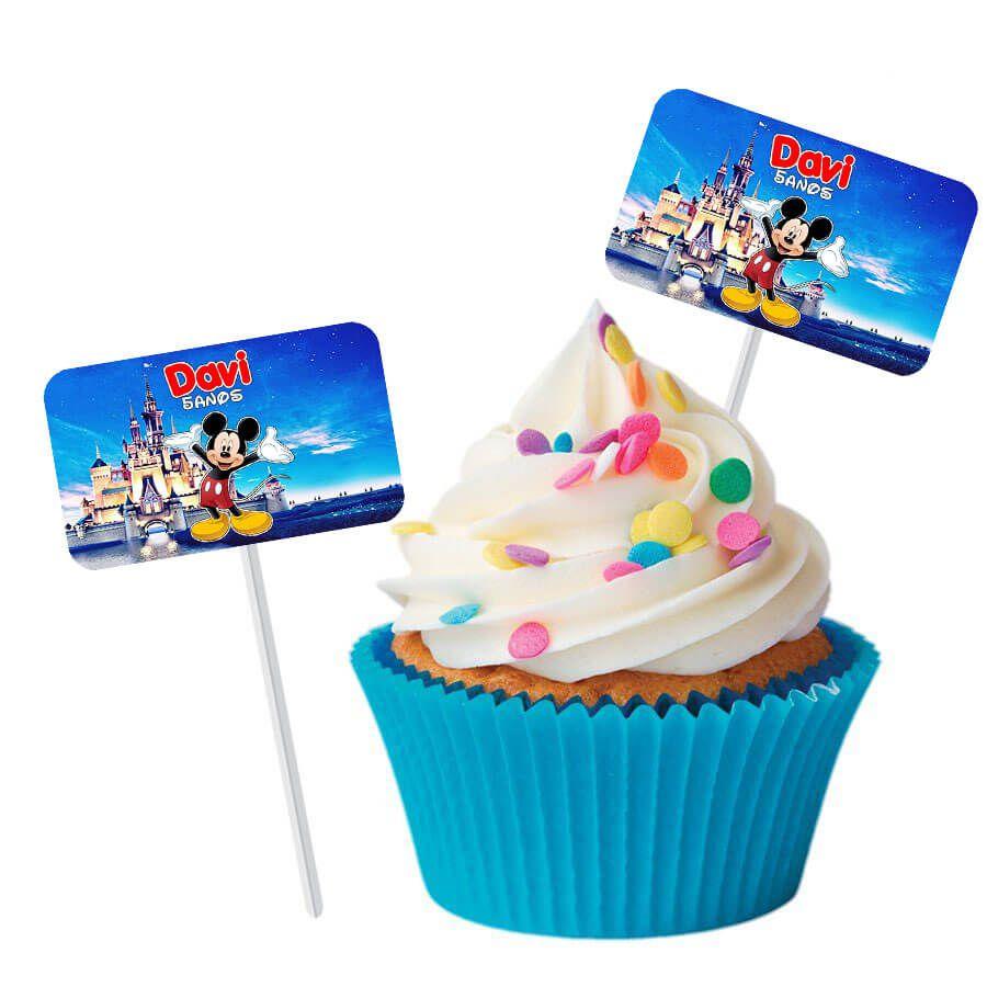 Topper Retangular para Doces Personalizado 15un Mickey Mouse
