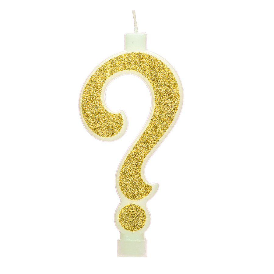 Vela Interrogação 11cm Glitter Dourada