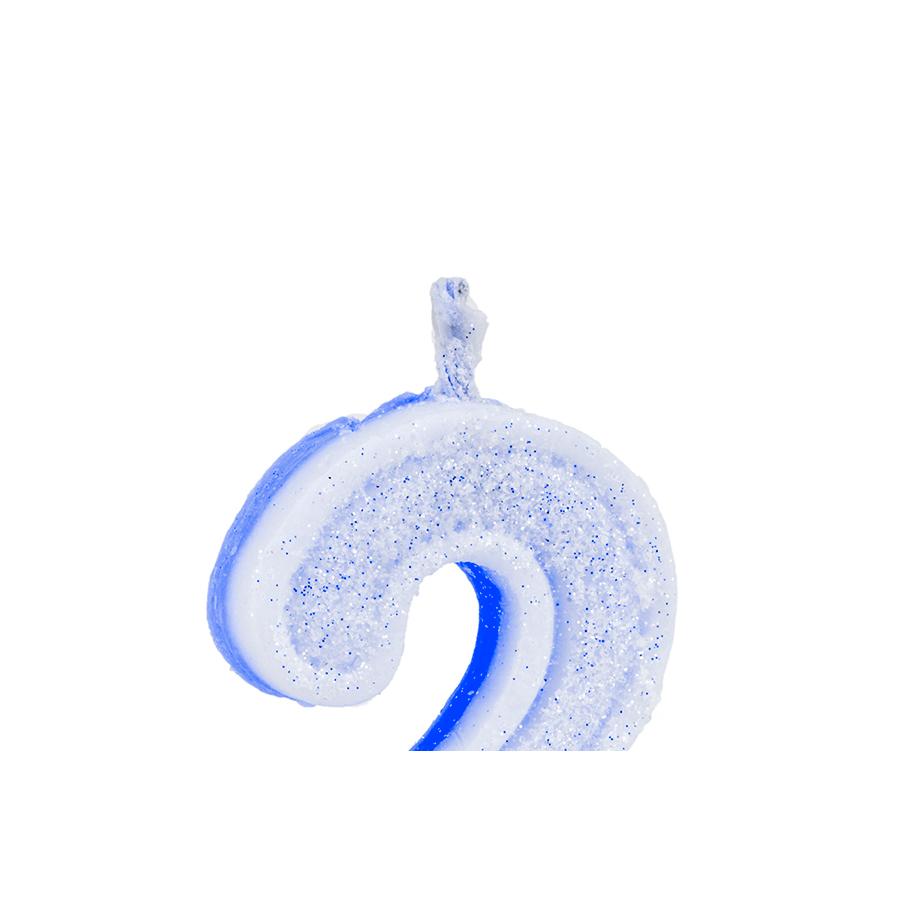 Vela Nº2 Glitter Azul Regina Festas