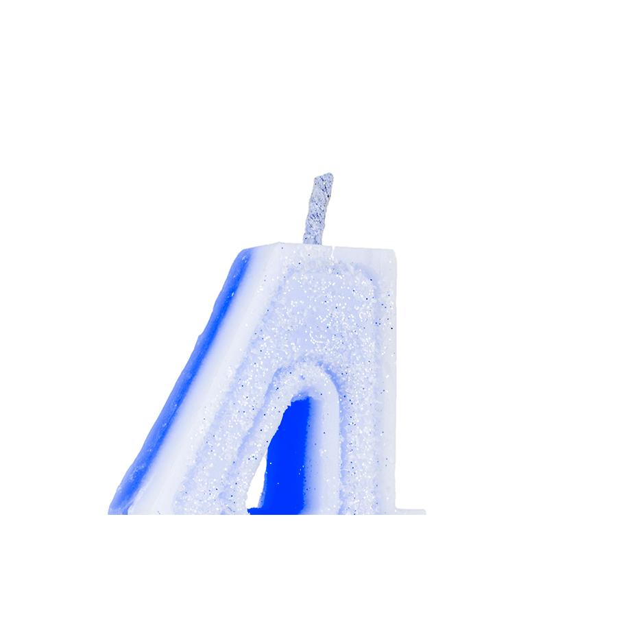 Vela Nº4 Glitter Azul Regina Festas