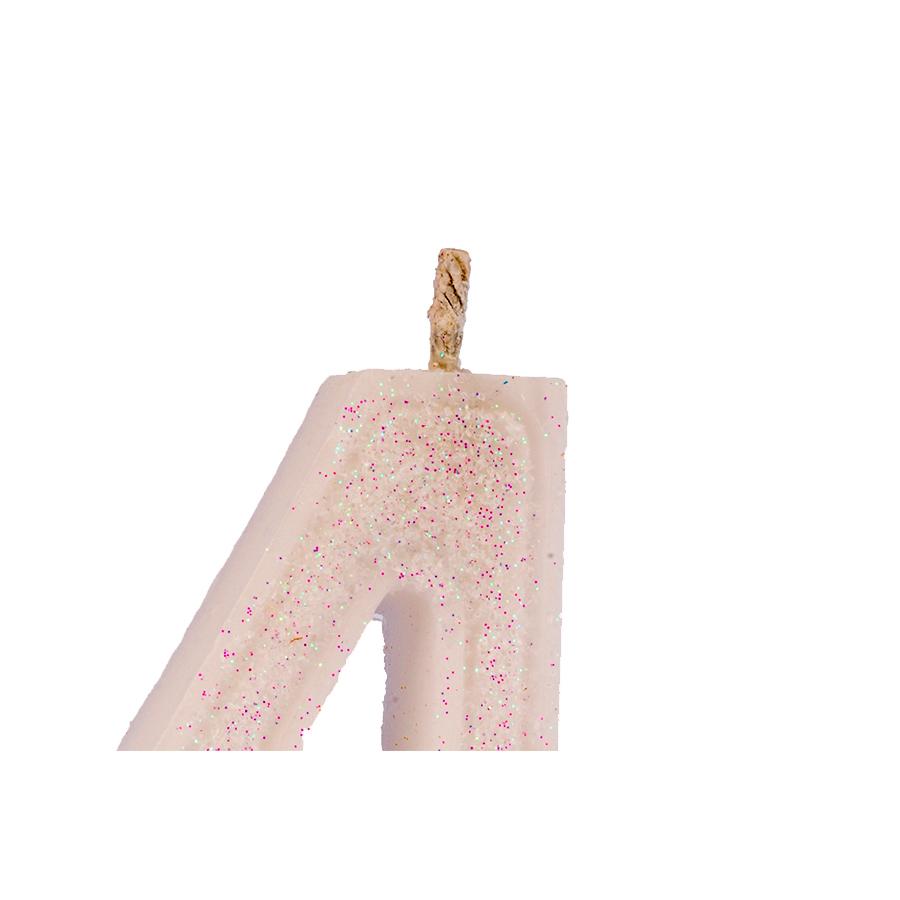 Vela Nº4 Glitter Branca Regina Festas