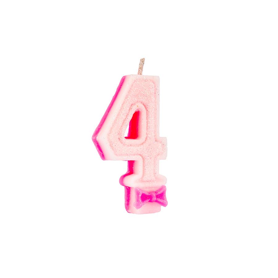 Vela Nº4 Glitter Rosa Regina Festas