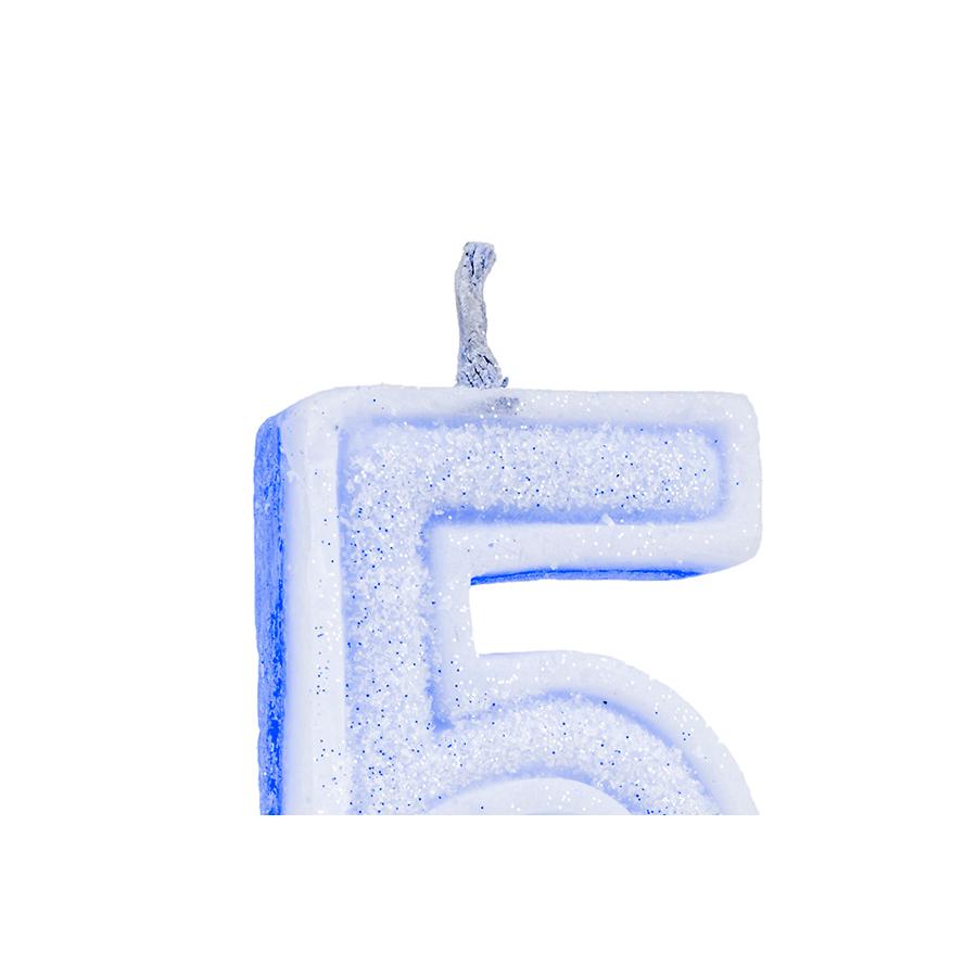 Vela Nº5 Glitter Azul Regina Festas
