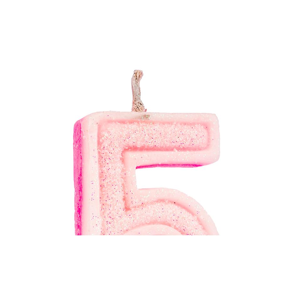 Vela Nº5 Glitter Rosa Regina Festas