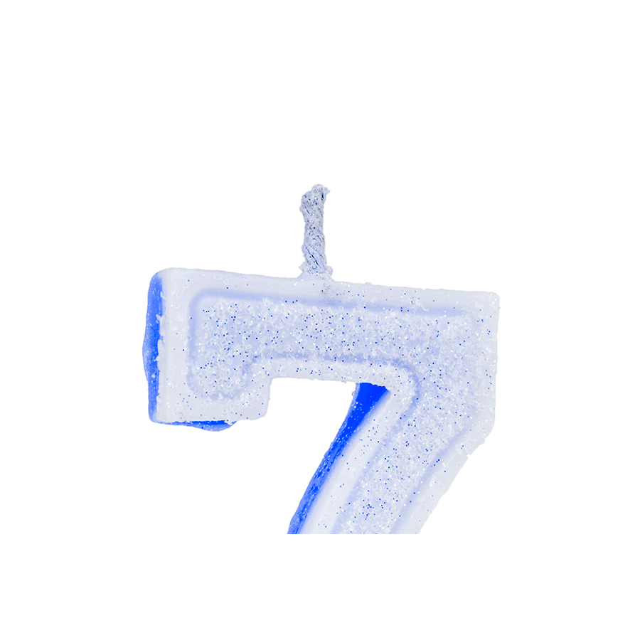 Vela Nº7 Glitter Azul Regina Festas