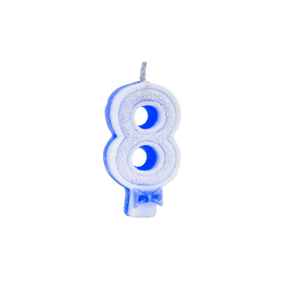 Vela Nº8 Glitter Azul Regina Festas