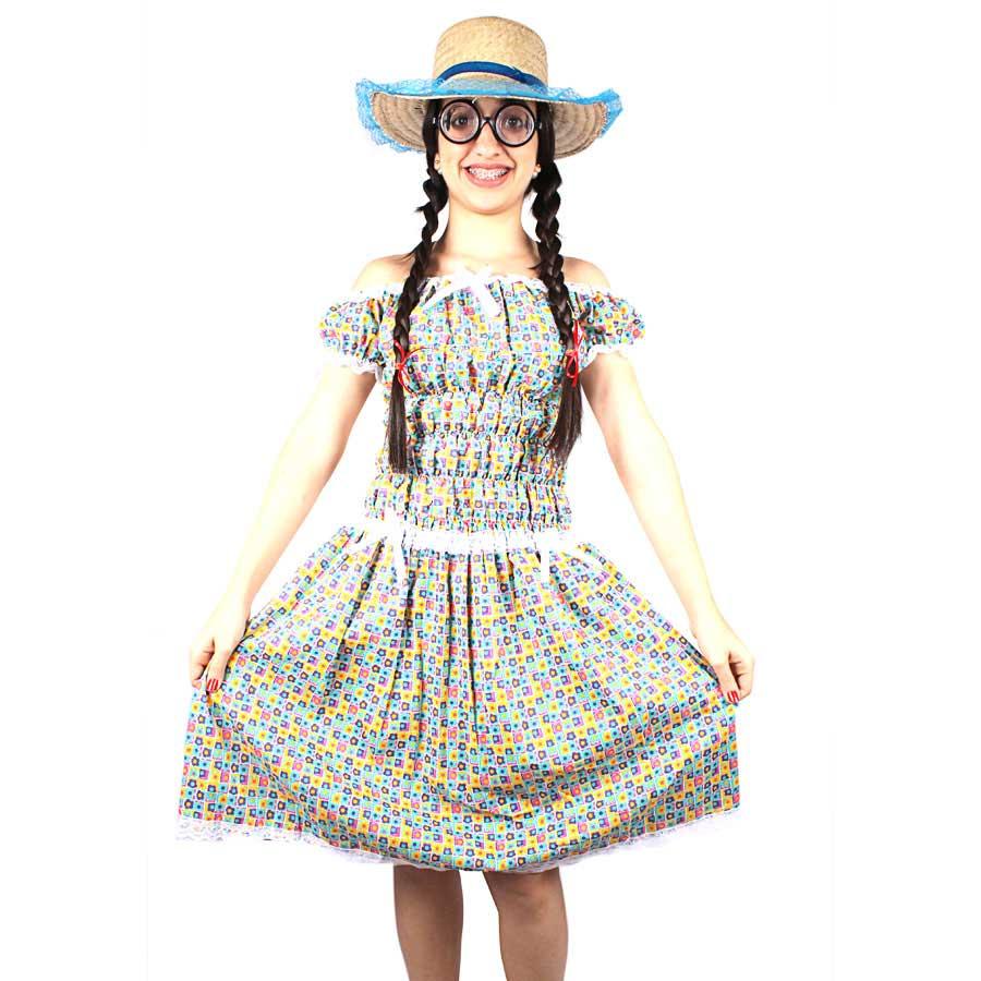 Vestido de Festa Junina Adulto Mocinha Sem Bermuda