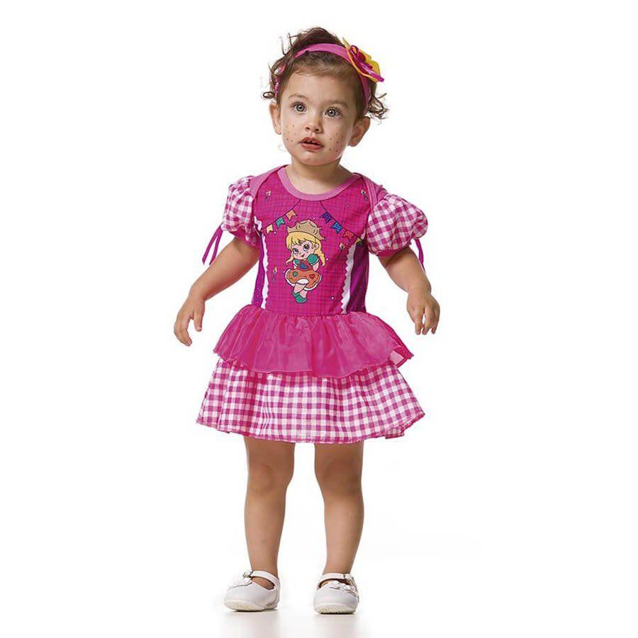 Vestido Body de Festa Junina Baby Lili com Tiara