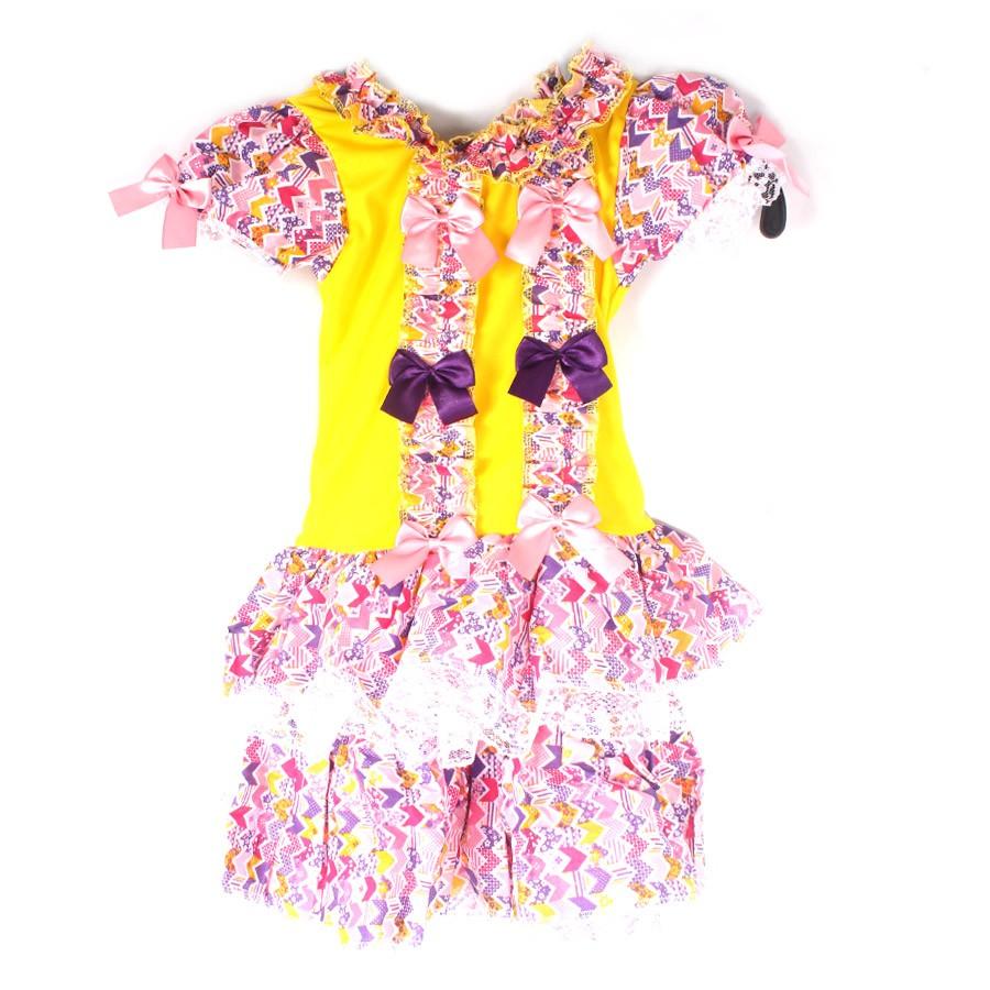 Vestido De Festa Junina Infantil Com Laços E Rendas Fru Fru