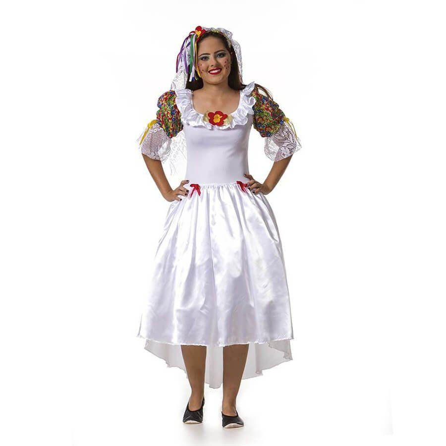 Vestido Noiva Caipira Adulta com Tiara Véu Festa Junina