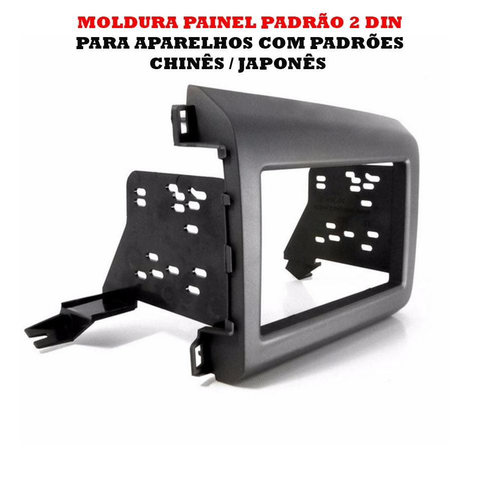Moldura 2 DIN Grafite Painel Central Radio DVD Honda Civic 2012 2013 2014
