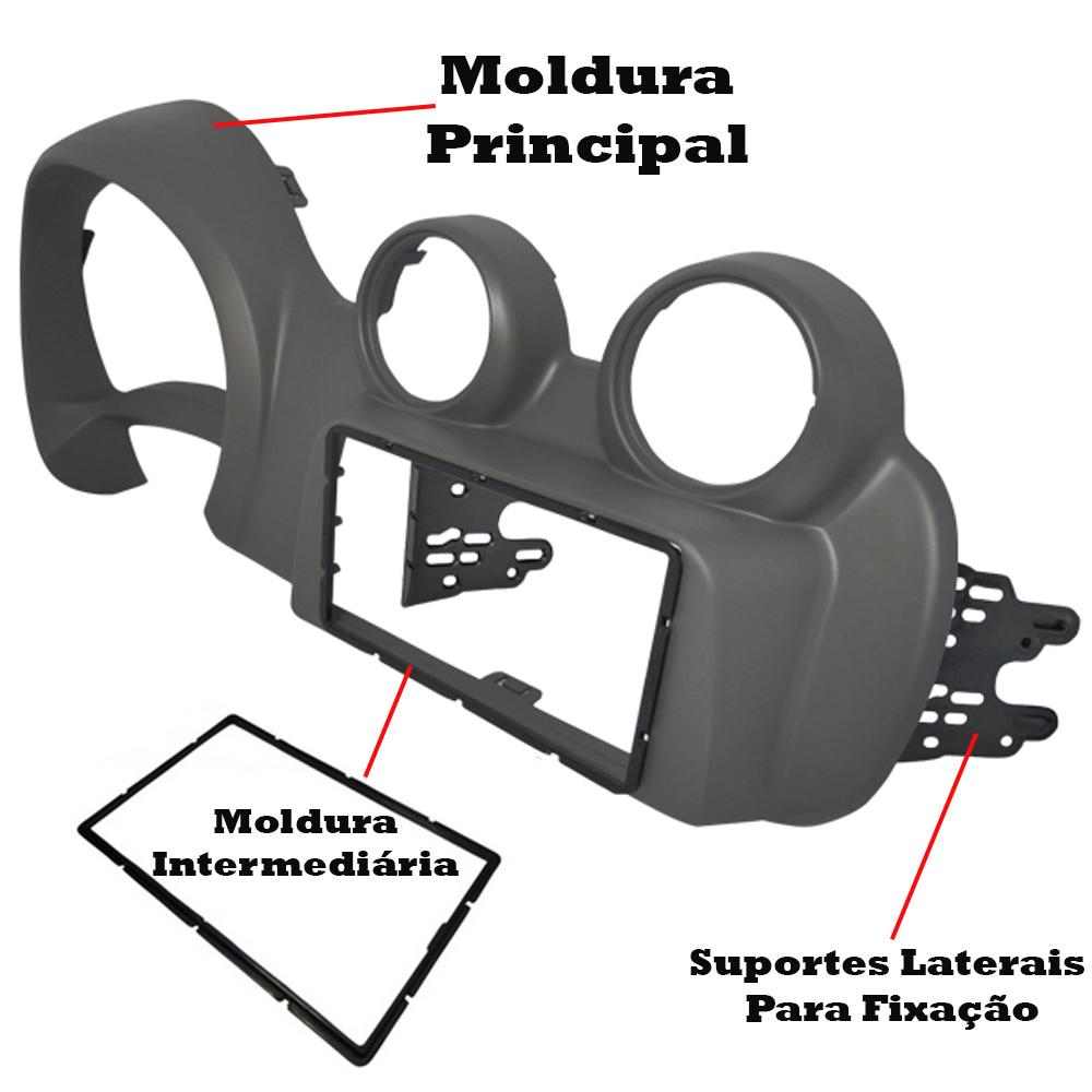 Moldura 2 DIN Cinza Painel Central Radio DVD Uno 2012 a 2015 Nova Fiorino