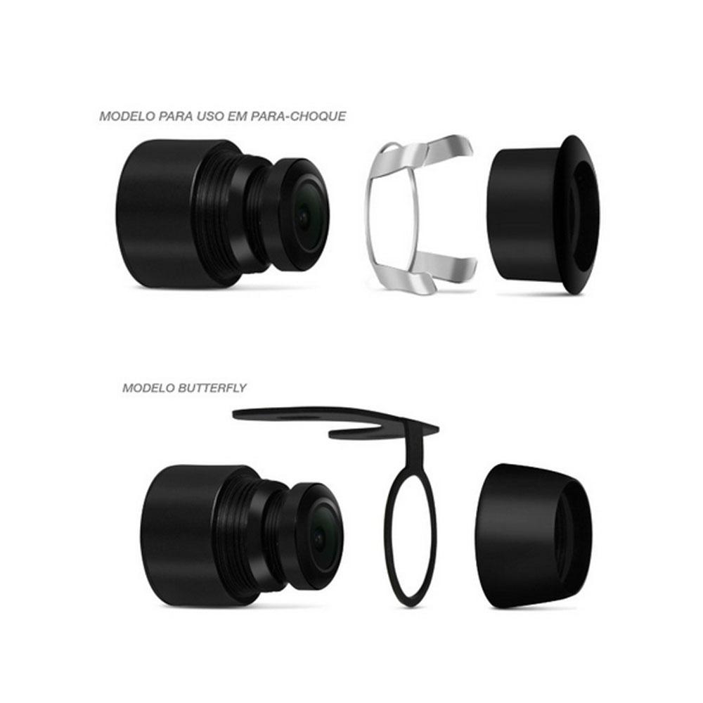 Câmera de Ré Colorida 2 em 1 Para-Choque ou Borboleta Universal Preta