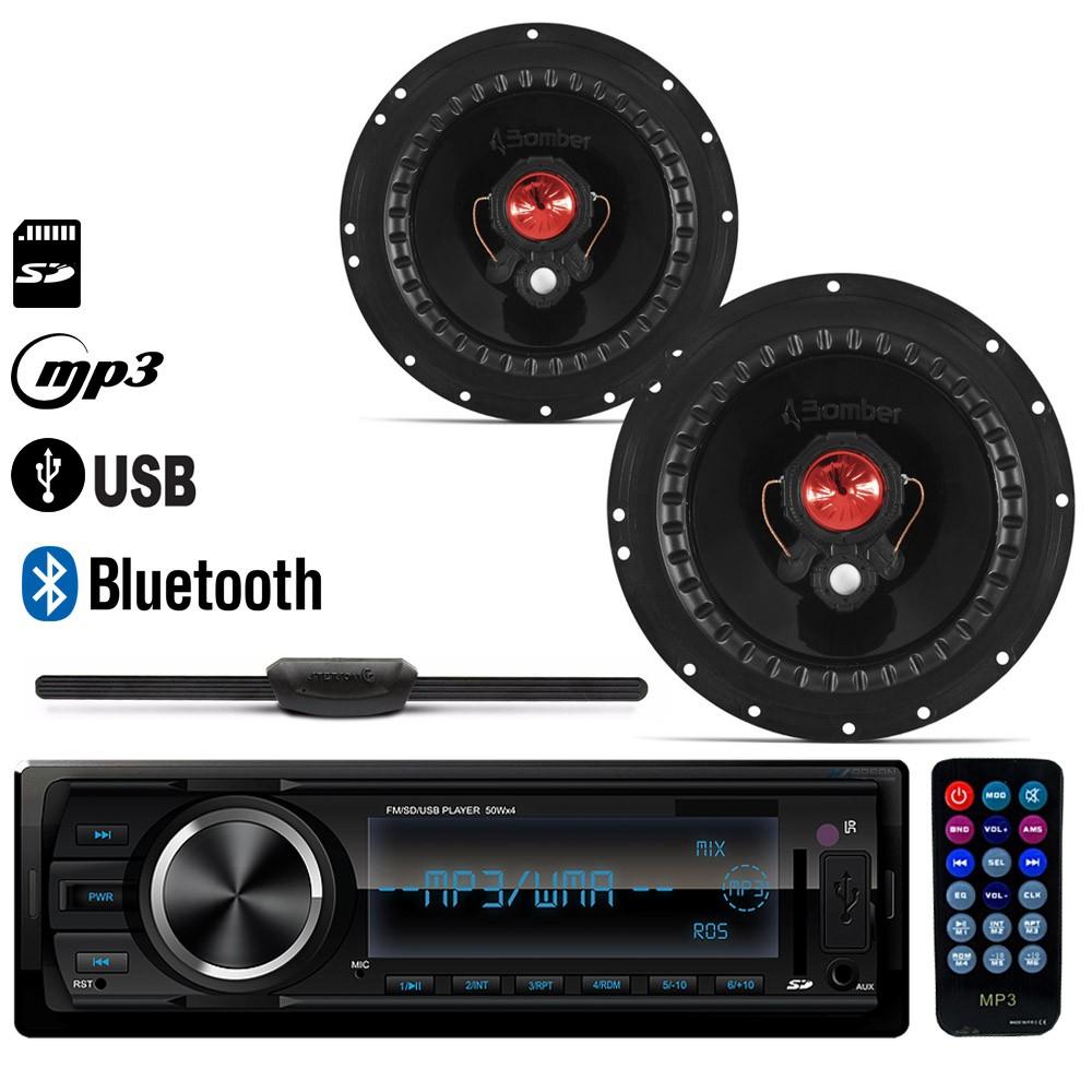 "Radio MP3 Usb Bluetooth + 2 Alto Falante 6"" Bomber + Antena"