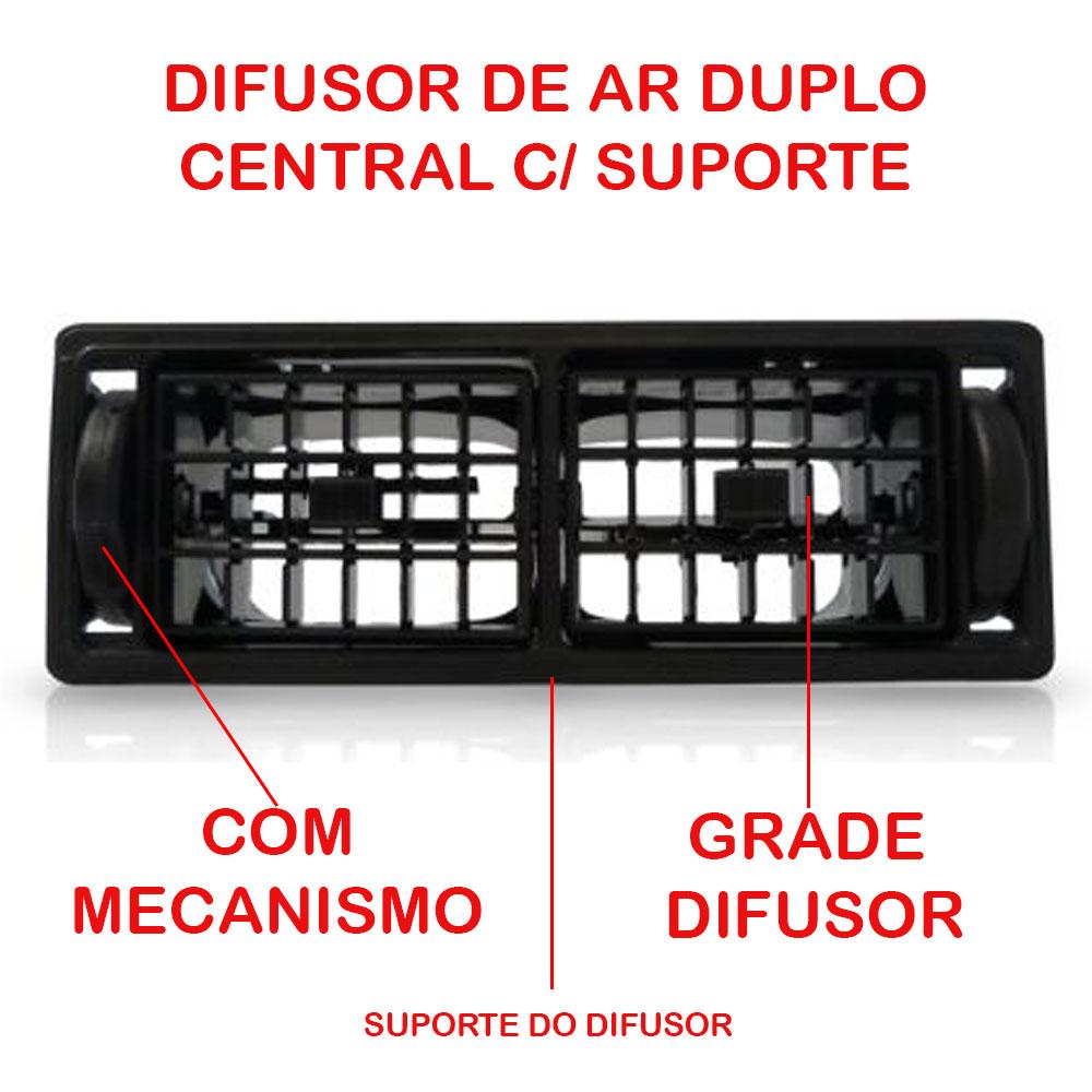 Difusor Ar Duplo Central C/ Suporte Gol Parati Saveiro Voyage Quadrado