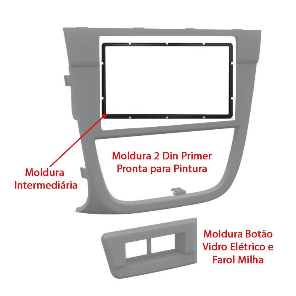 Moldura 2 DIN Primer Multimidia DVD Gol Saveiro Voyage G5