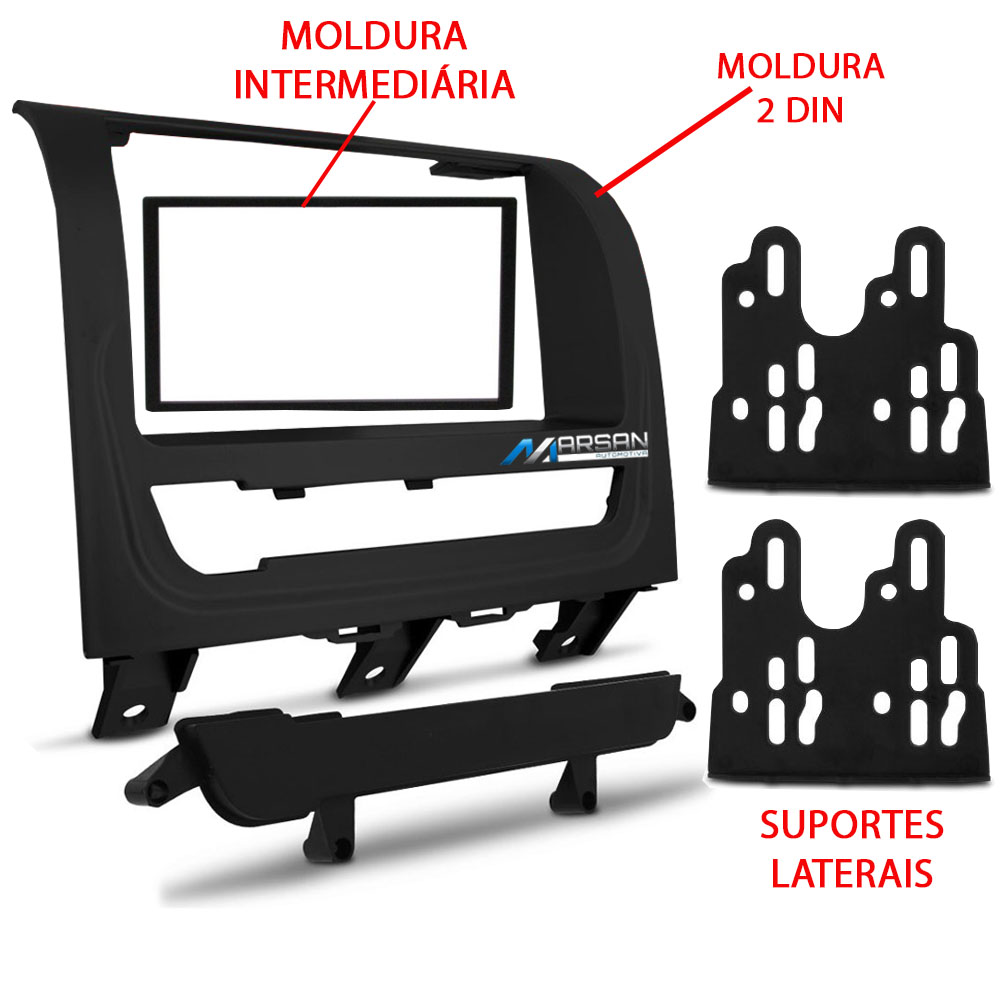 Moldura 2 DIN Preta Multimidia DVD Palio Way 2014 2015