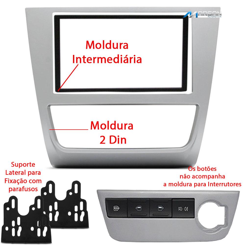 Moldura Prata 2 DIN Multimidia DVD Gol Saveiro Voyage G6