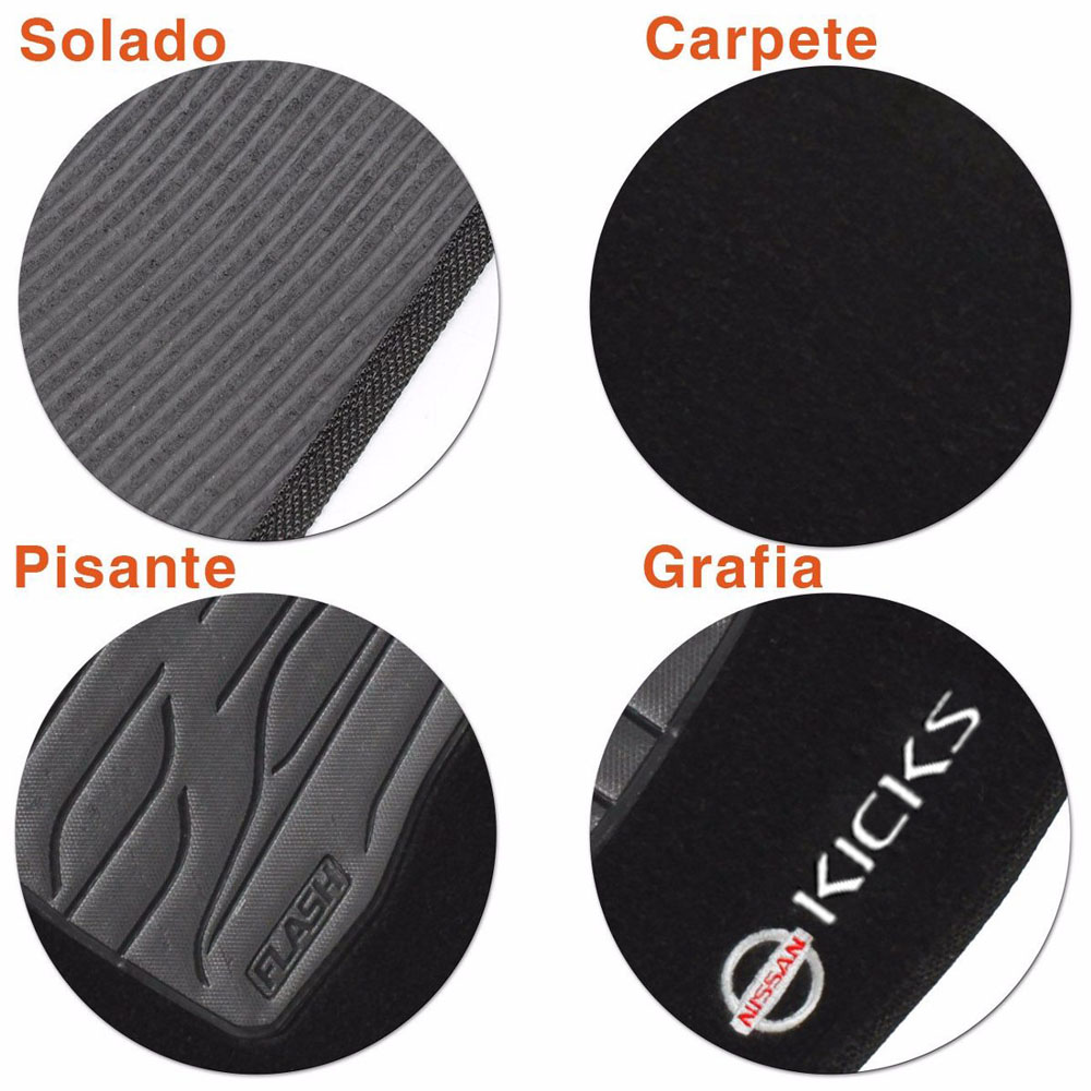 Tapete Carpete Preto (Bordado Logo e Modelo) Kicks 2016 2017 2018