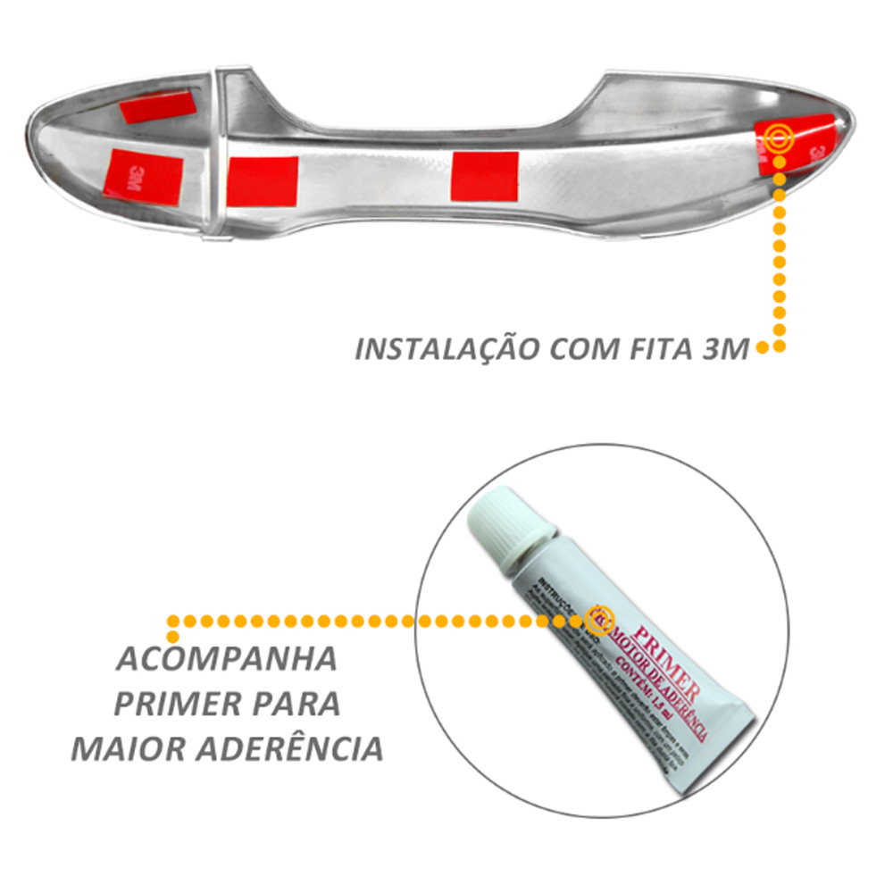 Aplique Cromado Maçaneta Retrovisor Milha Ecosport 2013 2014 2015