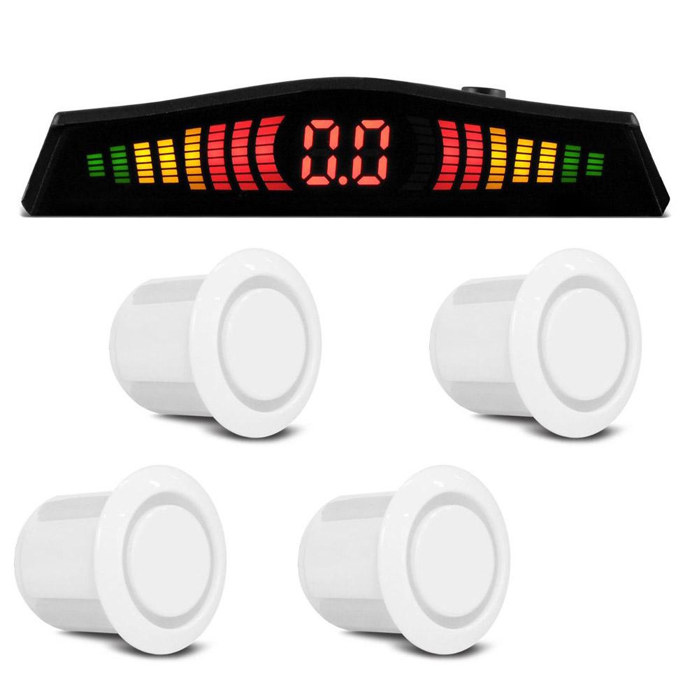 Sensor Estacionamento 4 Pontos Branco Display LED Colorido