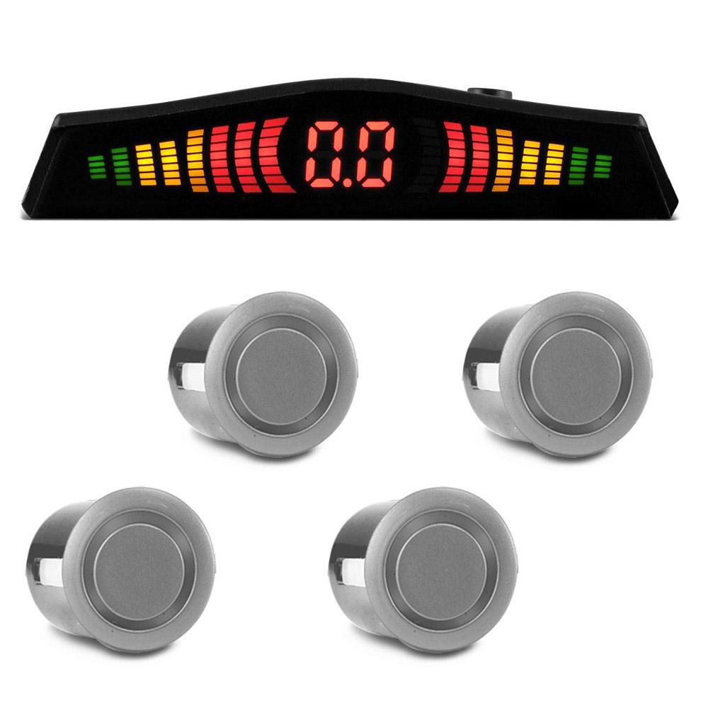 Sensor Estacionamento 4 Pontos Prata Display LED Colorido