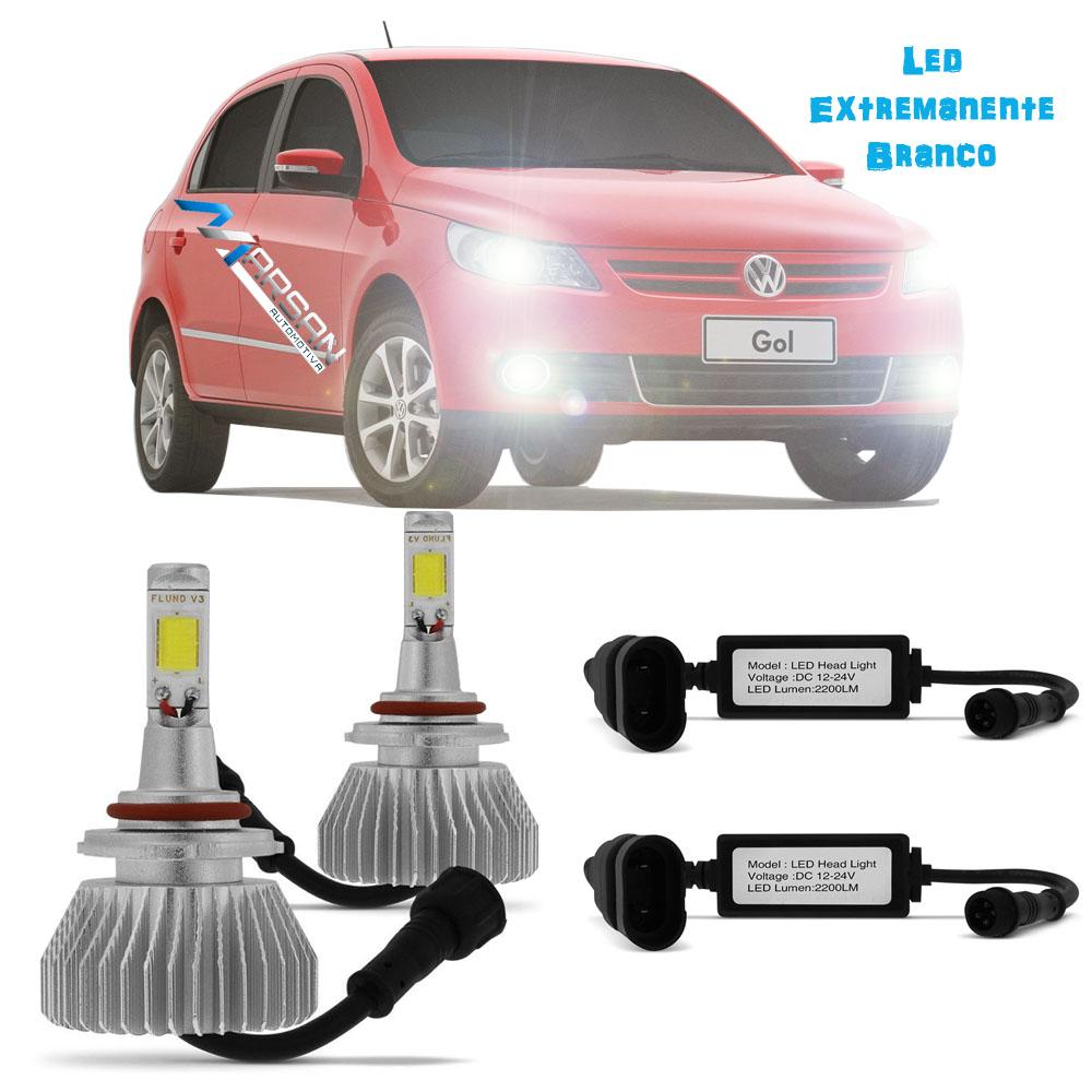 Kit Lampada Led 6k P/ Farol Baixo + Milha Gol G5 Tipo Xenon