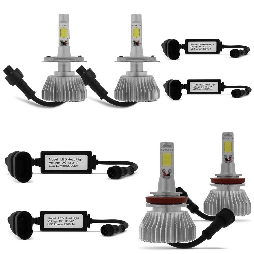 Kit Lampada Led Farol Alto+Baixo+Milha L200 Triton Tp Xenon