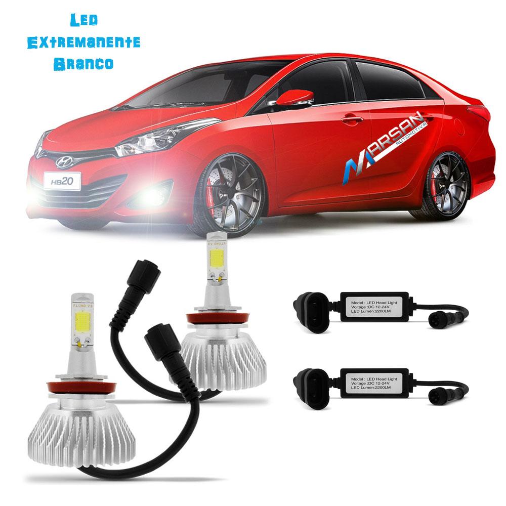 Kit Lampada Led 6000k Para Farol Milha HB20s Sedan Tp Xenon