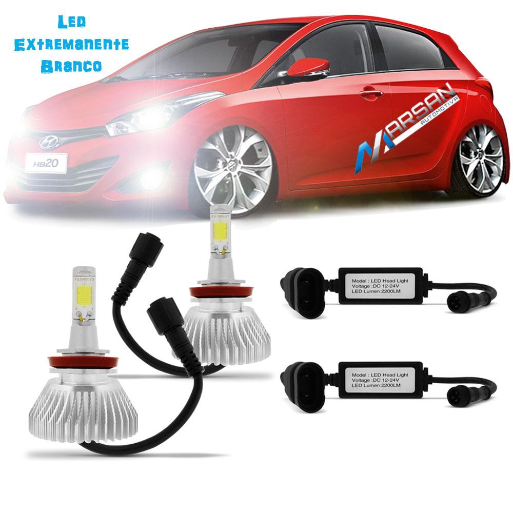 Kit Lampada Led Farol Alto+Baixo+Milha HB20 Hatch Tp Xenon