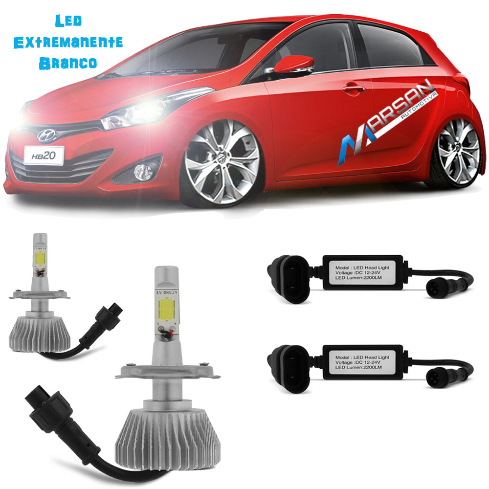 Kit Lampada Led 6000k Farol Alto+Baixo HB20 Hatch Tp Xenon
