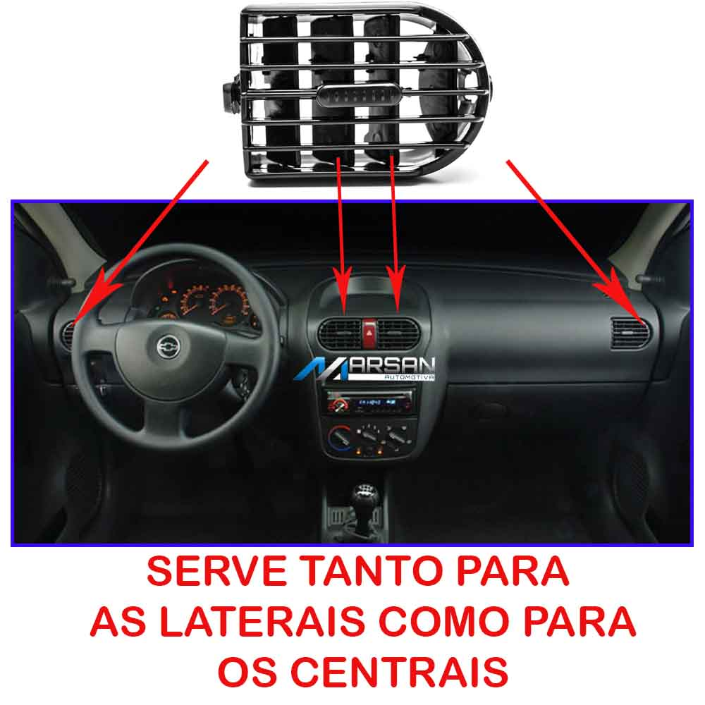 Kit Difusor Ar Painel Central Lateral Corsa 2002 a 2012 Montana