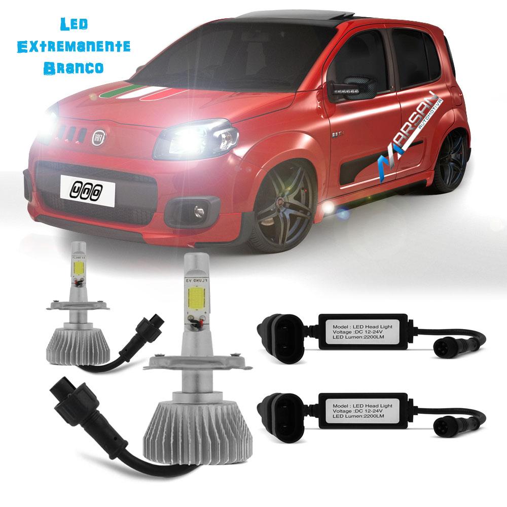 Kit Lampada Led 6K P/ Farol Alto+Baixo Uno Economy Tp Xenon