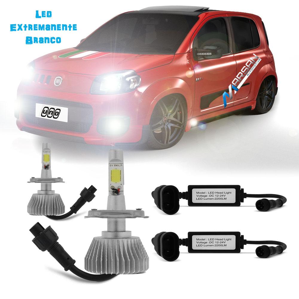 Kit Lampada Led 6000k P/ Farol Alto+Baixo+Milha Uno Economy