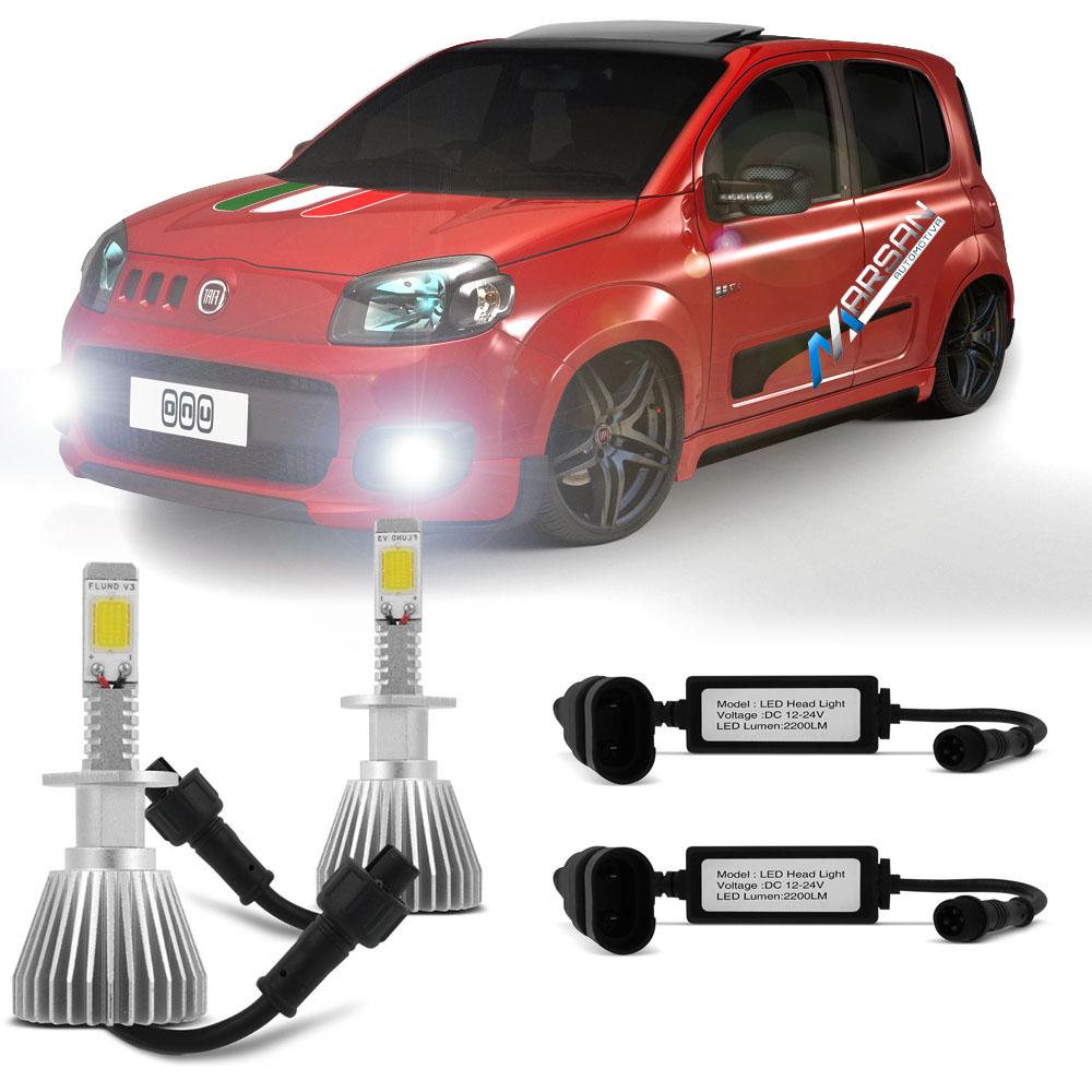 Kit Lampada Led 6000k Para Farol Milha Uno Evolution Tipo Xenon