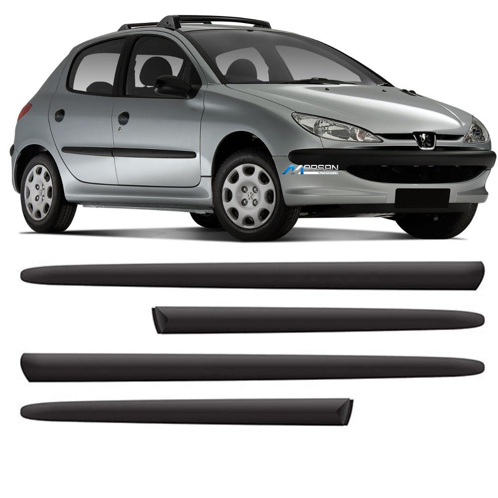 Friso Preto Lateral Borrachão Peugeot 206 4 Portas 2000 até 2012