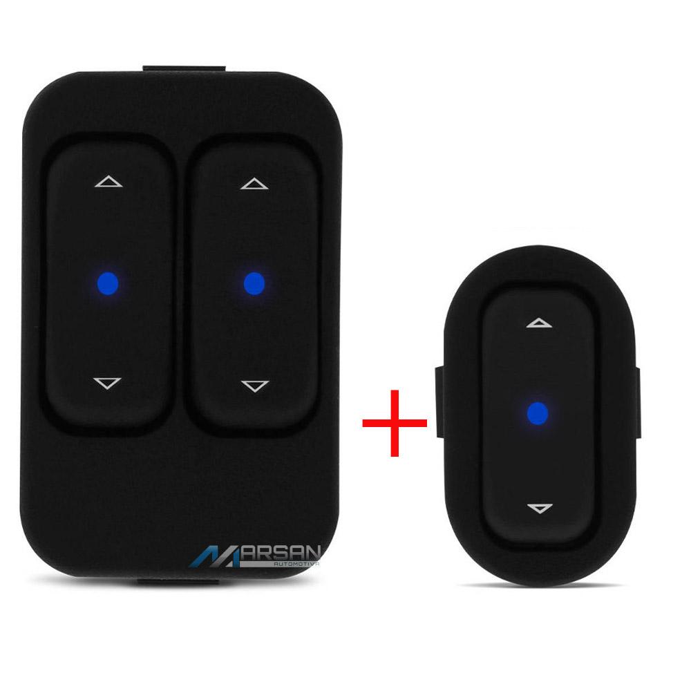 Kit Interruptor Led Azul Vidro Eletrico Agile Montana Celta
