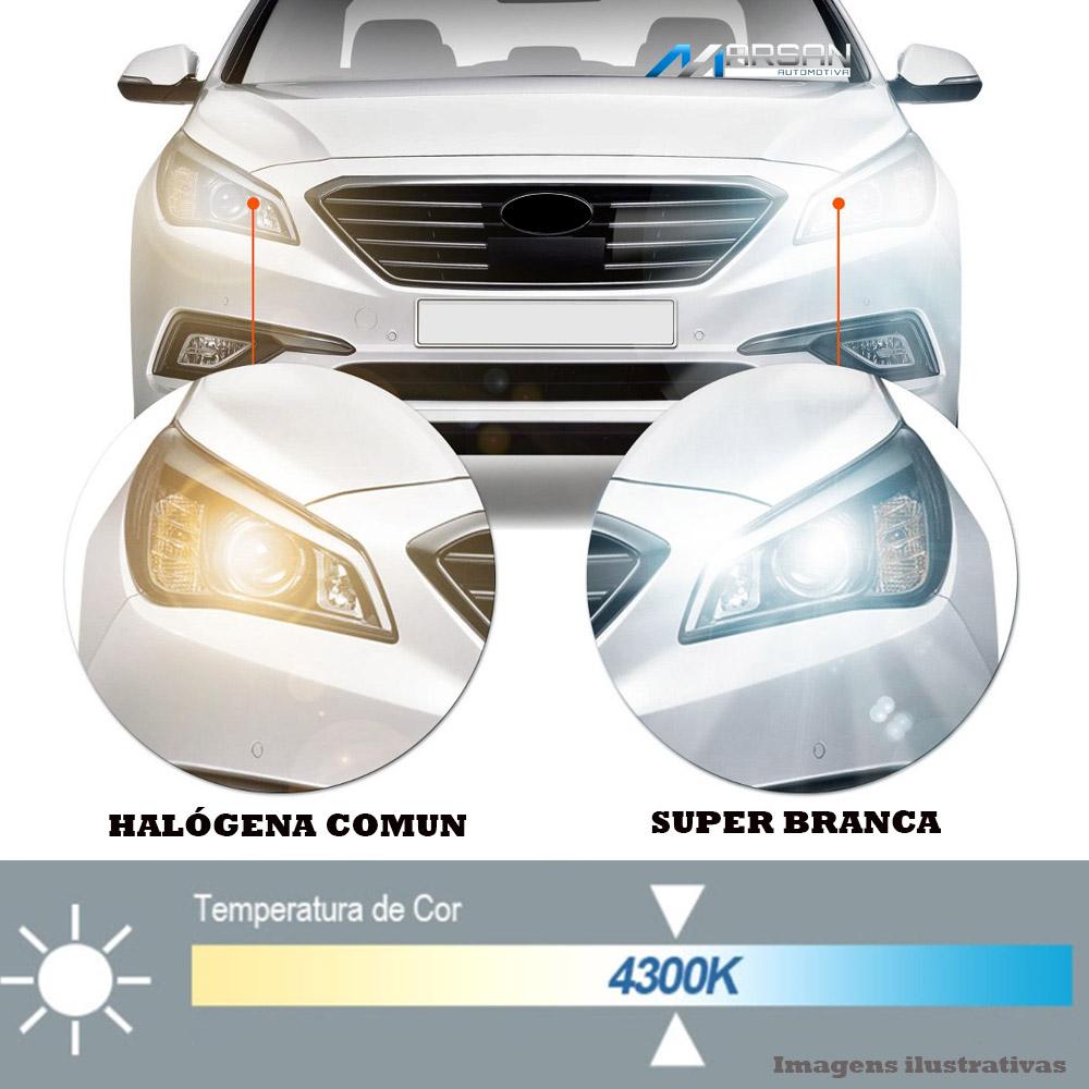 Par Lâmpada Super Branca H11 4300K 55W 12V Efeito Xênon