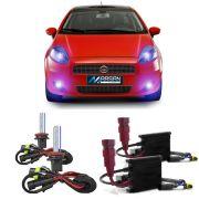 Kit Xenon Lampada 8000K Para Farol Alto Baixo e Farol Milha Punto 2007 a 2015