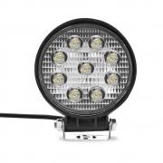 Farol de Milha Auxiliar Redondo 9 LEDs 12/24V 2400 Lumens 27W  6000K Universal