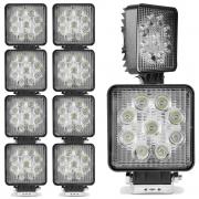 Kit 10 Farol de Milha Auxiliar Quadrado 9 LEDs 10/30V 2400 Lumens 27W  6000K Universal