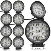 Kit 10 Farol de Milha Auxiliar Redondo 9 LEDs 12/24V 2400 Lumens 27W  6000K Universal