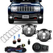 Kit Farol Milha Jeep Renegade 2019 2020 Botão Mod. Original + Aplique Grade