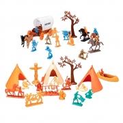 Maleta Acampamento Apache Colorido Gulliver Cowboys + 3 anos 9 Peças + 27 Figuras