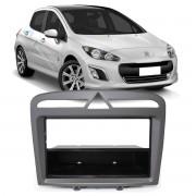Moldura Cinza Radio Multimidia Dvd 1Din 2Din Peugeot 308 408